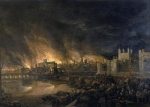 Detail of the Great Fire of London by an unknown painter.