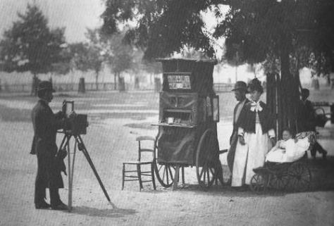 Itinerant photographer on Clapham Common, 1877.