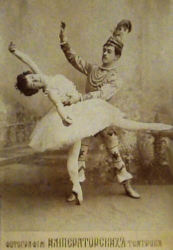 Olga Preobrazhenskaya as the Sugar Plum Fairy and Nikolai Legat as Prince Coqueluche in the Grand pas de deux in the original production of The Nutcracker. Imperial Mariinsky Theatre, St. Petersburg, c. 1900.