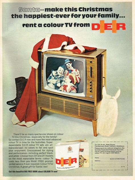 rent a D.E.R. colour tv for Christmas vintage