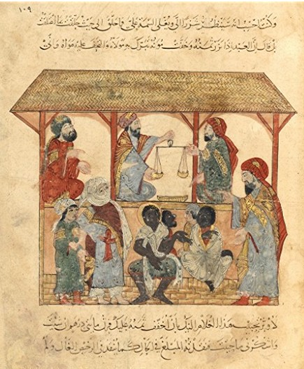 13th century slave market in Yemen. Yemen officially abolished slavery in 1962.