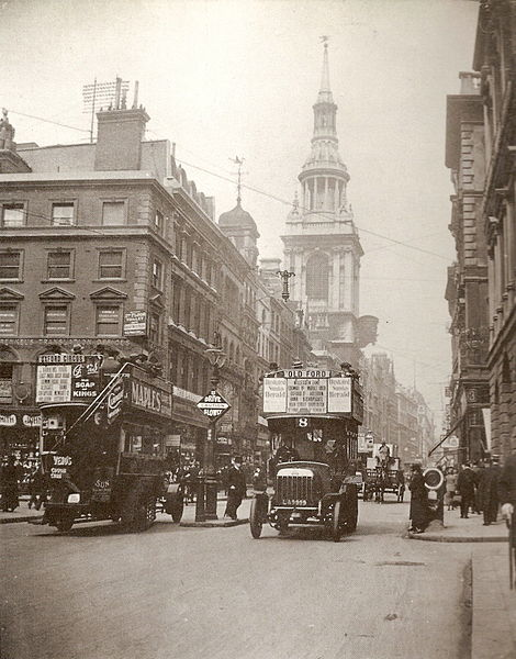 Cheapside pictured in 1909, with the church of St Mary-le-Bow in the background. Edwardian London England Britain
