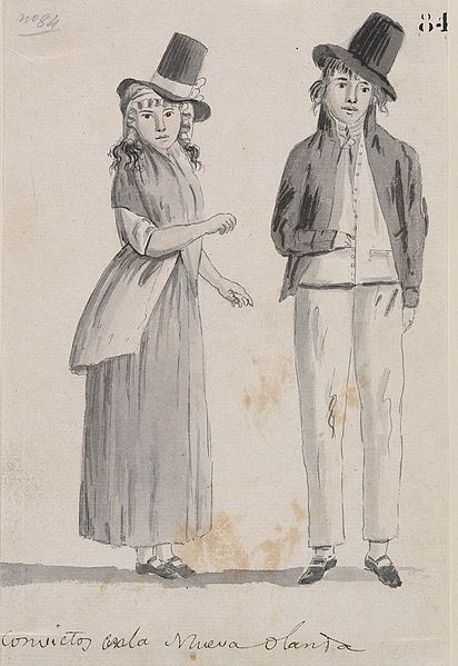 Drawing of a convict couple in New Holland, 1793.