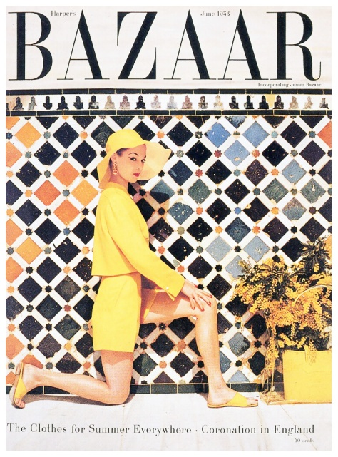 jean-patchett-in-shorts-and-jacket-by-clare-potter-hat-by-mr-john-cover-photo-by-louise-dahl-wolfe-at-the-alhambra-granada-spain-harpers-baHarper'sBazaarJune1953