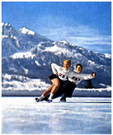 Pairs figure skaters at 1956 Winter Olympics. SH