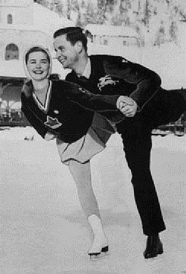 Scott_and_GerschwilerBarbara-Ann Scott of Canada and Hans Gerschwiler of Switzerland practice pairs figure skating before competition.1948winterolympics