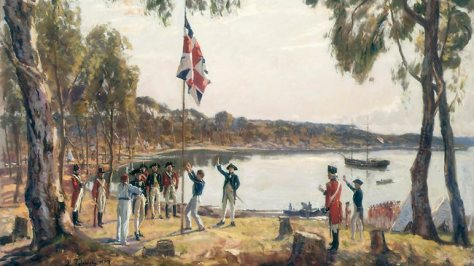 Sydney Cove, Jan. 26th 1788, a 1937 oil sketch by Algernon Talmage.