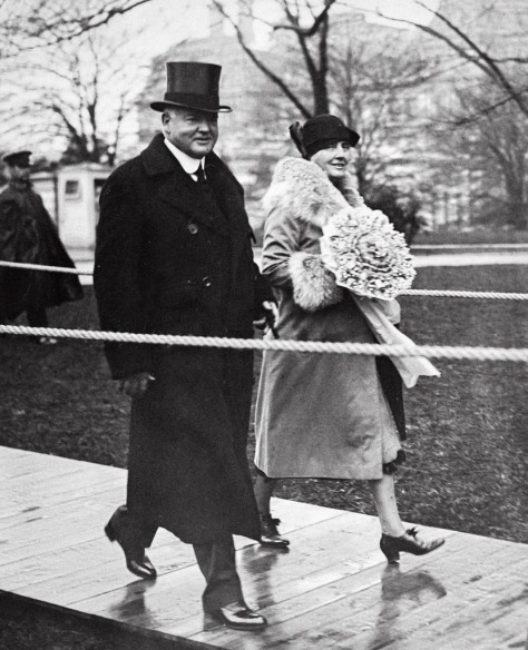The new President Hoover and First Lady going to their new home in the White House, March 4, 1929.