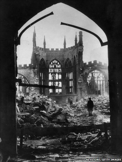 Coventry Cathedral bombed 14th November 1940