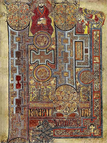450px-KellsFol292rIncipJohnThe Book of Kells, (folio 292r), circa 800, showing the lavishly decorated text that opens the Gospel of John