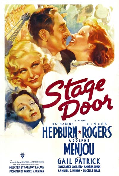 Stage_Door_(1937)Stage Door, a 1937 film, had its premiere on the 8th of October. Katharine Hepburn, Ginger Rogers, Adolphe Menjou, Gail Patrick.