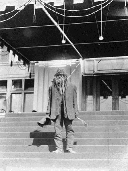 Aboriginal man (King Billy) on the steps of Parliament House, Canberra, Australia. 1st January, 1927.