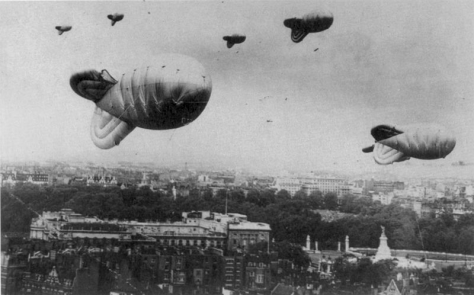 Barrage balloons over London during World War II