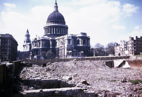 Blitz Bombing Damage Near St. Paul's Cathedral in London