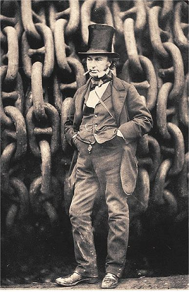 The famous Howlett photo of Isambard Kingdom Brunel against the launching chains of Great Eastern at Millwall in 1857.