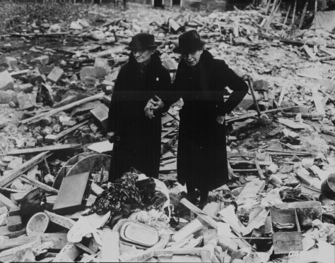 ww2Two bewildered old ladies stand amid the levelled ruins of the almshouse which was HomeAlmshouse bombed  10 Newbury   Photograph taken 11th February