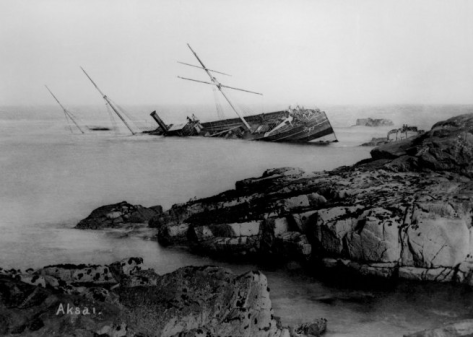 2 November 1875. The steamer Aksai, travelling from Cardiff and bound for Odesa, wrecked White Island, St Martin's in thick fog.