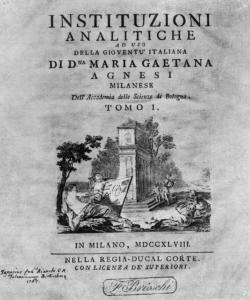 First page of Instituzioni analitiche (1748)