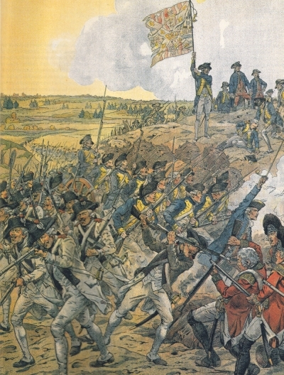 French troops storming Redoubt #9 during the Siege of Yorktown. 19th October, 1781.