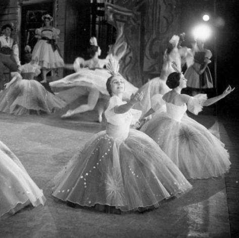 Jan Melvin and Joan Boler in the Dance of the Hours in Borovansky Ballet's Coppélia
