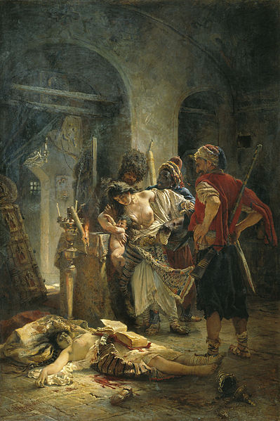 The Bulgarian martyresses by Konstantin Makovsky , a painting depicting the rape of Bulgarian women by Ottoman troops during the April Uprising of 1876.