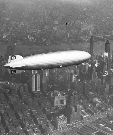 The Hindenburg flies over Manhattan on the 6th of May, 1937. A few hours later the ship burst into flames while attempting to land at Lakehurst, New Jersey, claiming the lives of thirty-five people on board and one me
