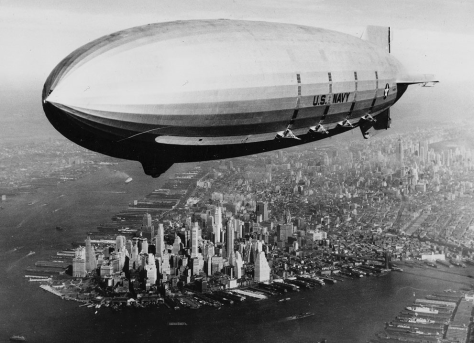 The USS Macon sails over lower Manhattan, on October 9, 1933.
