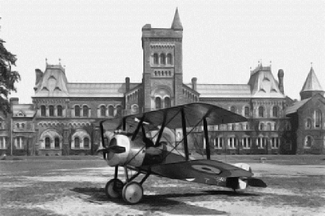 A Sopwith Camel aeroplane in front of University College, Toronto during the First World War, 1918.