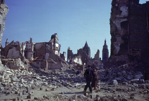 d-day-aftermathCouple Walk Through Ruins of St. Lo France