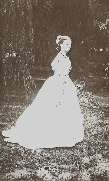 Elizabeth Barker in her coming-out dress was photographed by her father, Dr Barker, in Christchurch, New Zealand. 15th February 1868