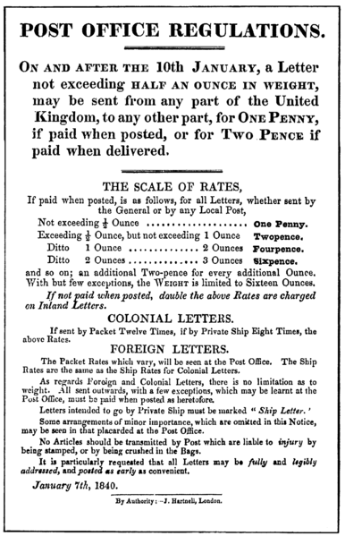 Royal Mail Post Office Regulations handbill giving details of the Uniform Penny Post, dated 7 January 1840.