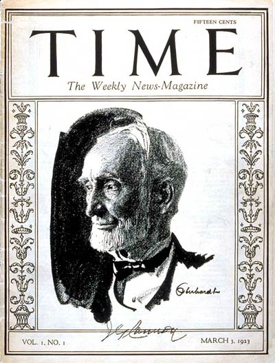 The first issue of Time (March 3, 1923), featuring Speaker Joseph G. Cannon.