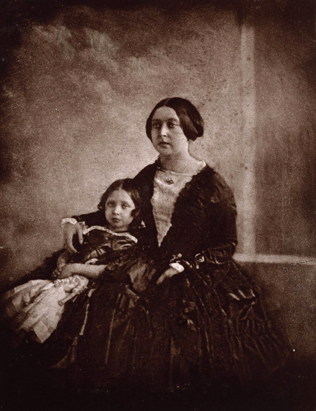 Earliest photograph of Queen Victoria, with the Princess Royal c.1844-5 (printed in carbon in 1891).