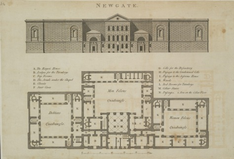 Map of Newgate Prison from 1800, with separate courtyards for debtors, men felons and women felons.