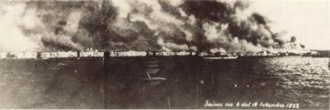 Smyrna fire, A wide view of the city on fire. 14.Sep.1922. 0600 AM.