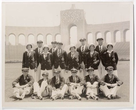 The Australian Olympic Team at the Olympic Stadium, Los Angeles, 1932.