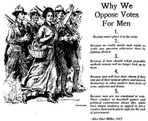 Why We Oppose Votes For Men USA 1915