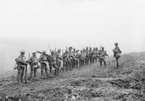 A platoon from the Australian 29th Battalion being addressed by their commanding officer on the 8th of August 1918.
