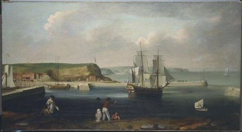 Painting of the Earl of Pembroke, later HMS Endeavour, leaving Whitby Harbour in 1768. circa 1790