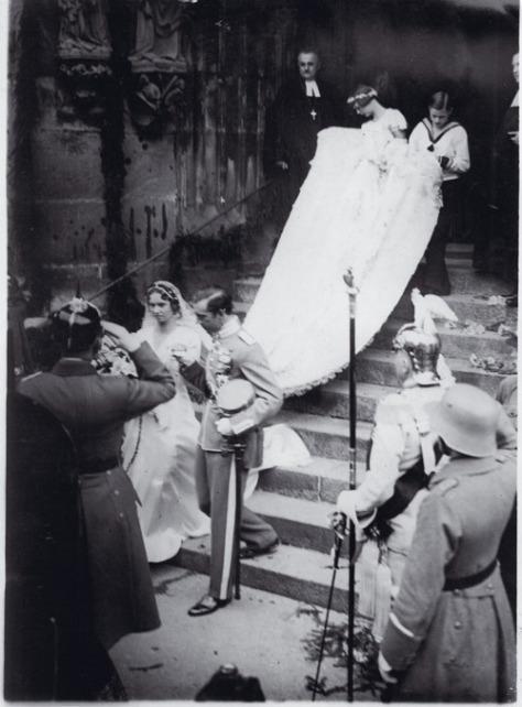 Wedding of Prince Gustaf Adolf, Duke of Västerbotten to Princess Sibylla of Saxe-Coburg and Gotha. 19th October, 1932.