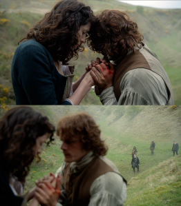 Outlander 1x08 Claire and Jamie after the attack Sonya Heaney