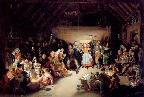 Snap-Apple Night, painted by Irish artist Daniel Maclise in 1833. It was inspired by a Halloween party he attended in Blarney, Ireland, in 1832.