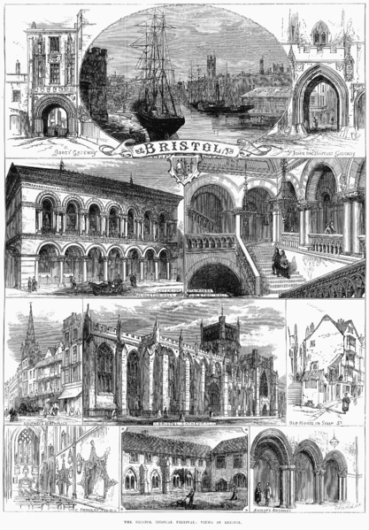 An 1873 engraving showing sights around Bristol England