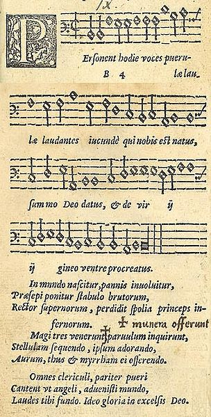 A 1582 published version of the Latin Christmas carol Personent hodie.