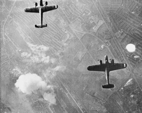 Dornier Do 17 bombers of the Luftwaffe over West Ham on 7 September 1940.