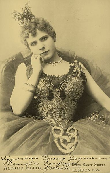 Italian ballerina Pierina Legnani photographed in London on the 15th of September, 1891.