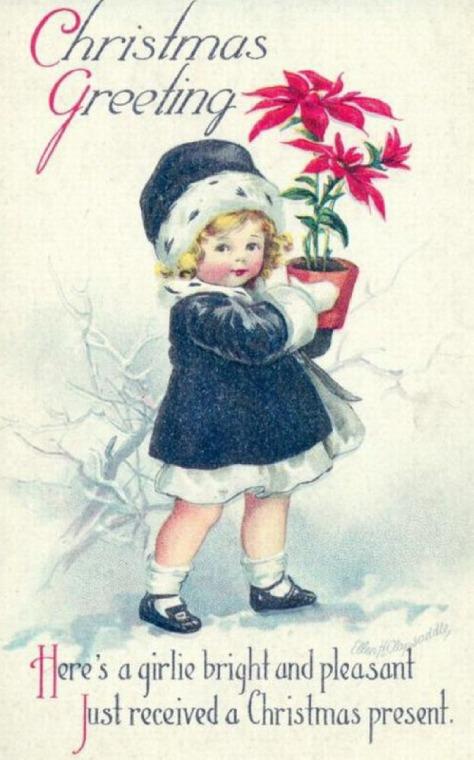 Victorian era Christmas postcard