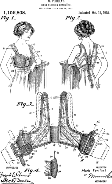 1913 Bust reducing brassiere US Patent 1156808.