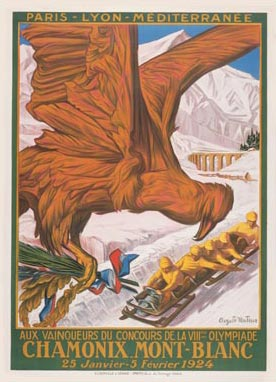 1924 Winter Olympics Chamonix France Poster