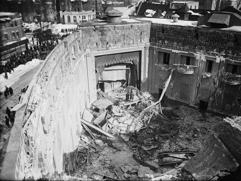 Interior of Knickerbocker Theatre, Washington, DC, following roof collapse on January 28, 1922.